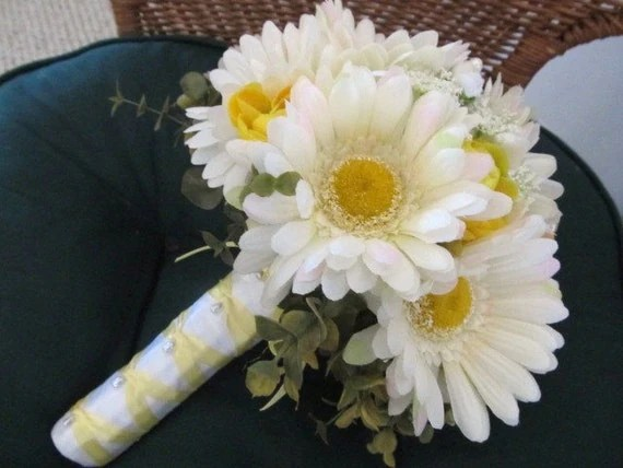 Spring Gerbera Daisy Wedding Bouquet In White And Yellow