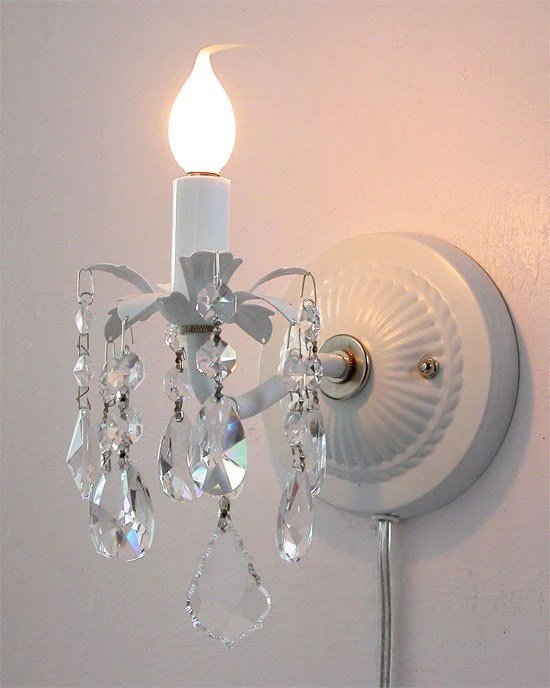 Pair of plug-in wall sconces with crystals on Plugin Wall Sconce Lights id=76842