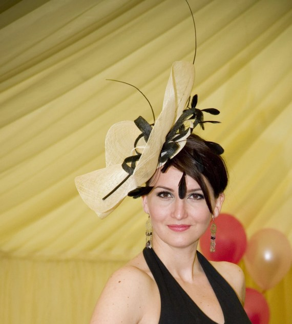 Cream and Black Sinamay Large Fascinator - CoutureHatsbyBeth