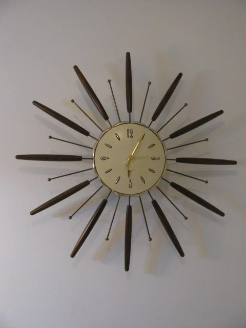 Vintage 60s 1960s Mod Starburst Sunburst Wall Clock Metal And
