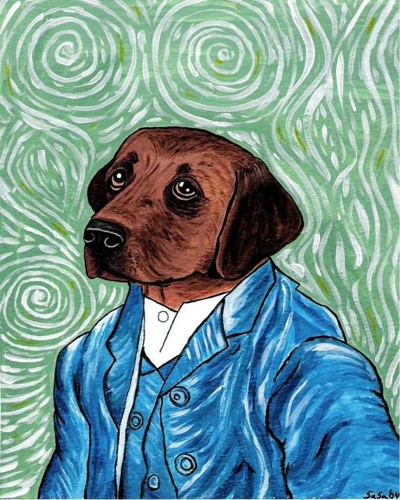 Lab Dog Vincent Van Gogh Greeting Note Card