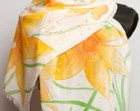 Hand Painted Silk  Cotton Fringe Scarf  Spring Daffodils Narcissus Flowers Warm 16 X 55 Mother Day  Present