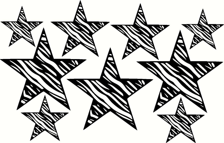Zebra Print Star Wall Decal Vinyl Sticker 9 Stars