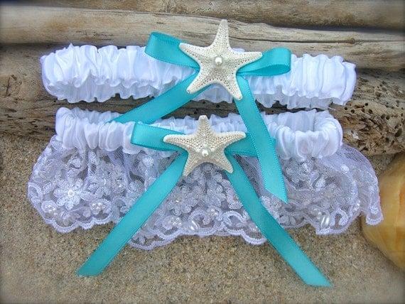 Beach Wedding Starfish Garter SetSomething BlueBeach Bridal