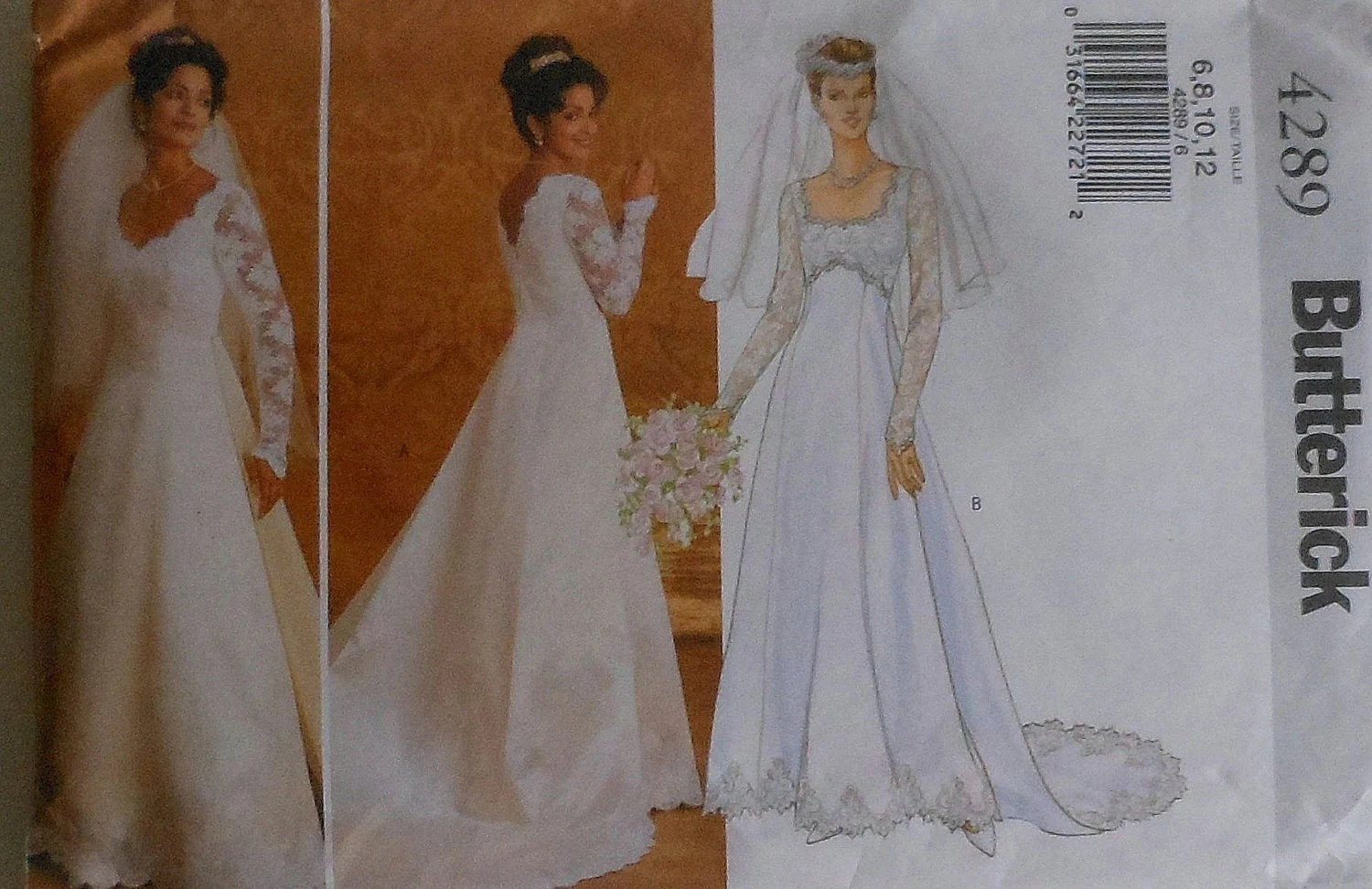 Wedding Gown With Detachable Train Sewing Pattern Butterick