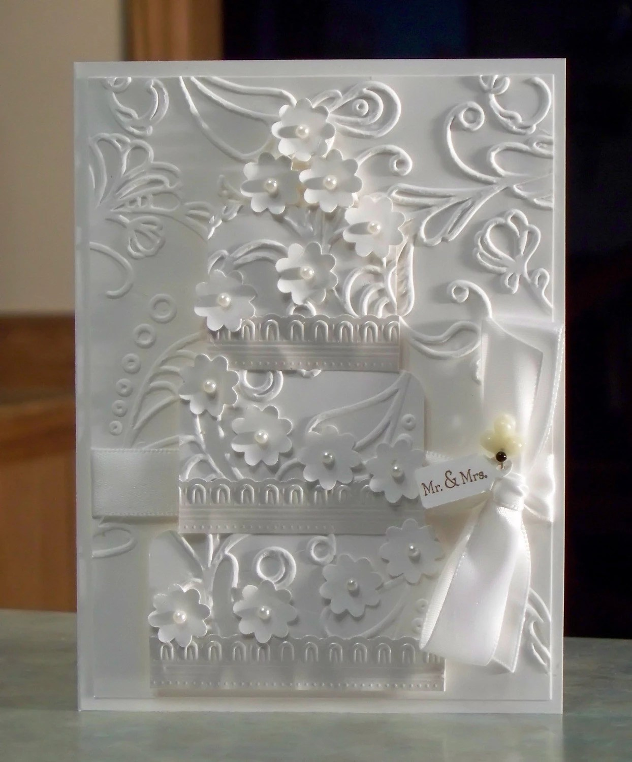 Handmade White Wedding Card Embossed Three Tier By