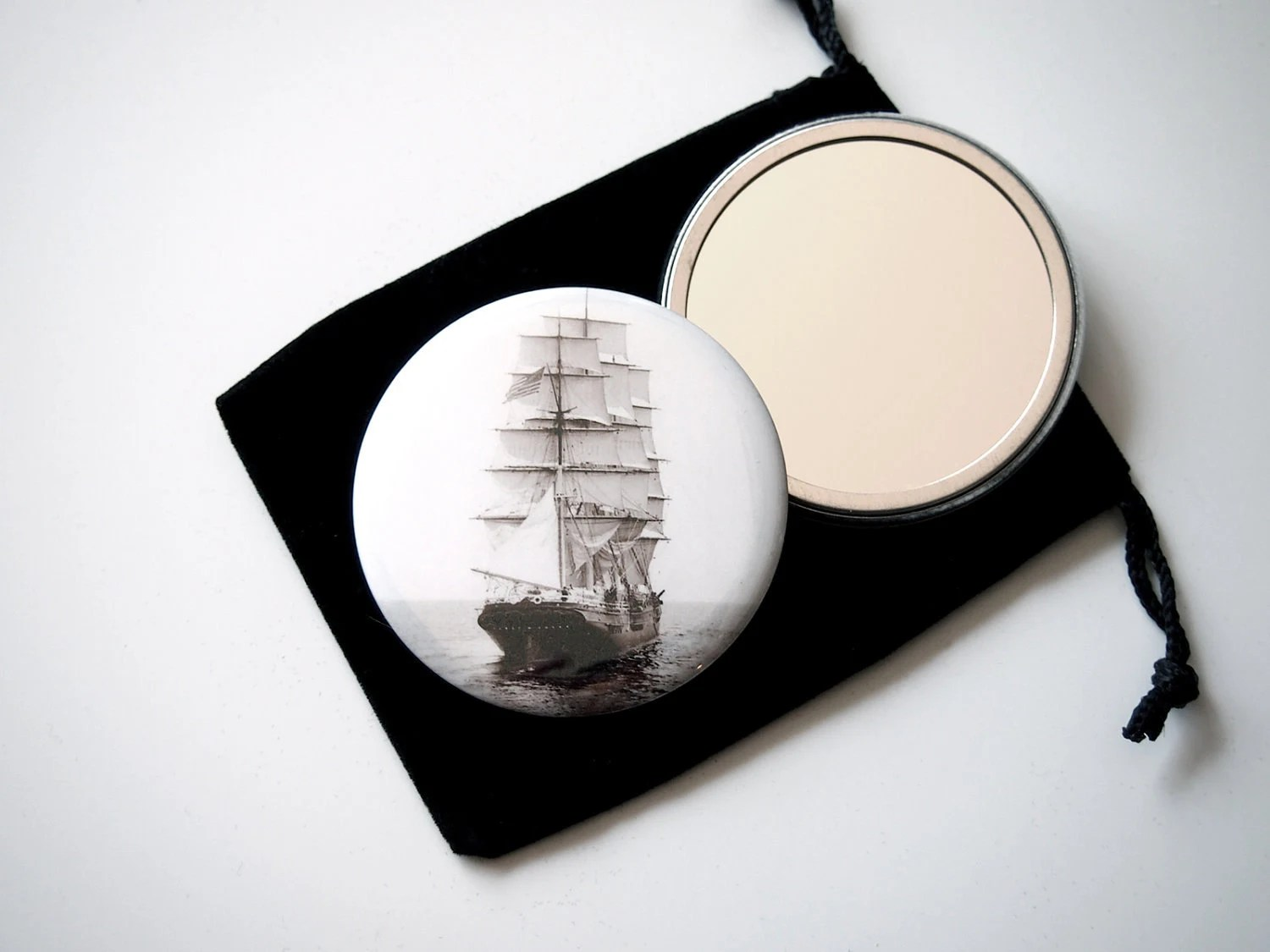 "The Panay in the Boston Harbor  - Pocket Mirror - 2.25"" with Organza Pouch  - Vintage Photograph by Nathaniel Stebbins"