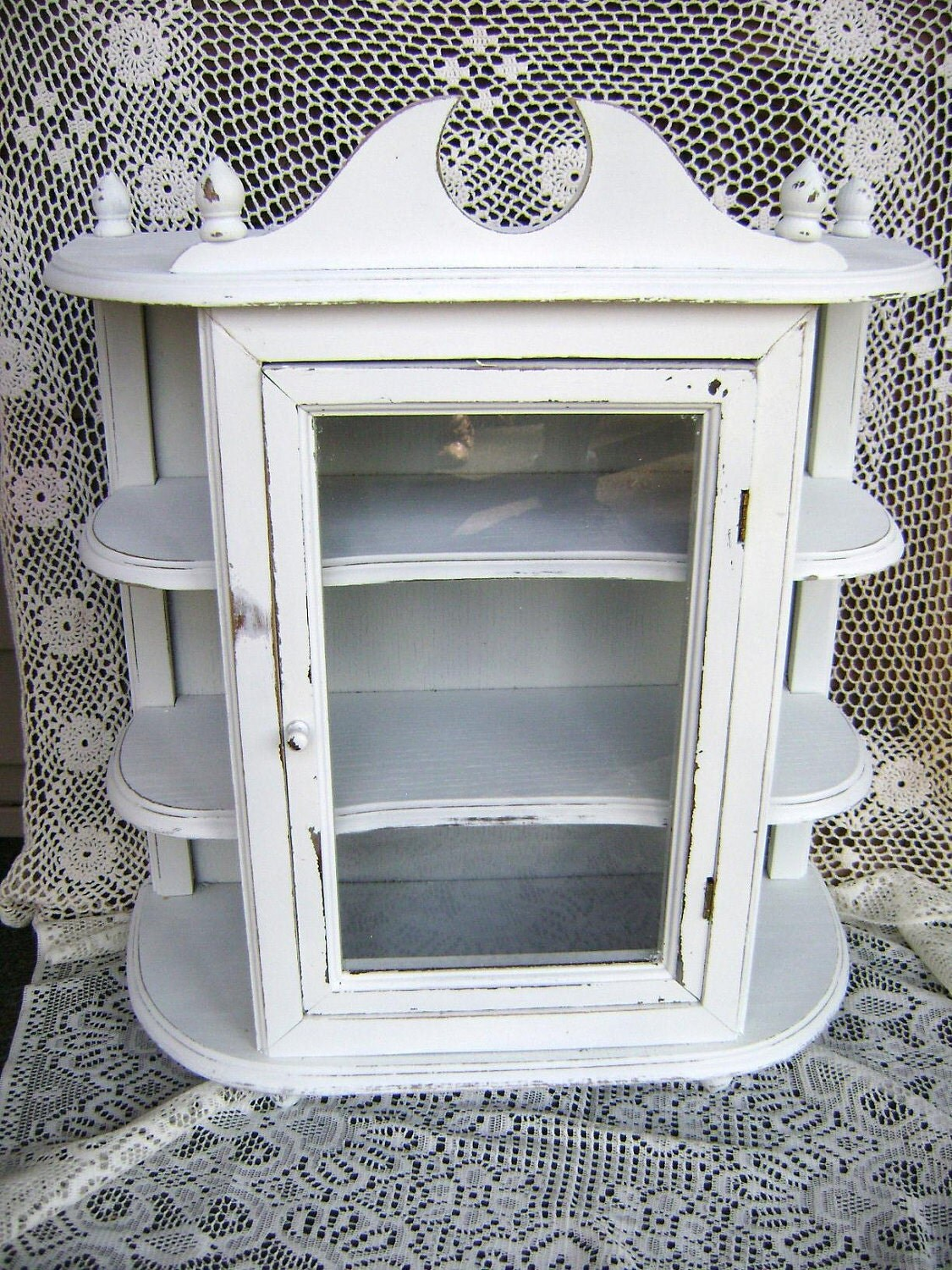 Wood Curio Cabinet w/Door 3 Shelves Upcycled by ... on Corner Sconce Shelf Cabinet id=44813