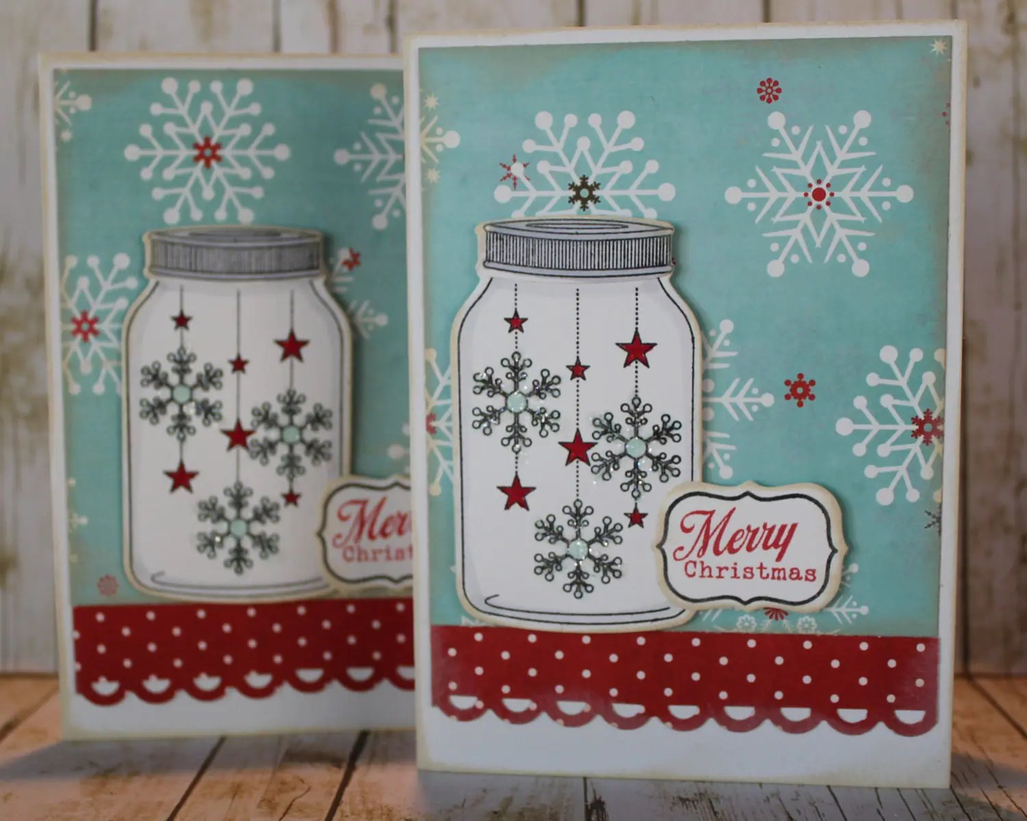 Set Of 6 Handmade Merry Christmas Snowflakes In Jar Cards With