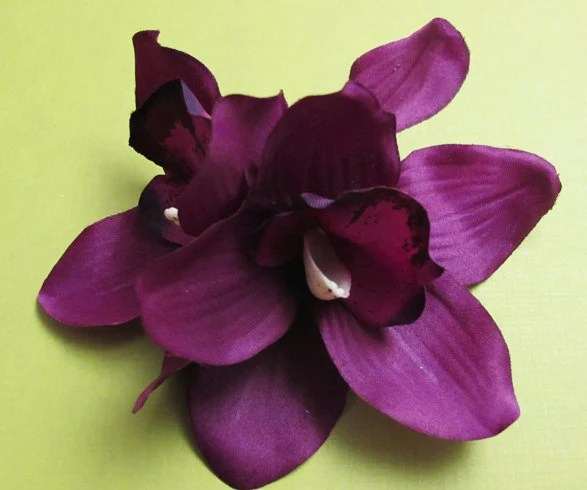 Hawaiian Dark Purple Two Orchids Hair Flower Clip 5 X
