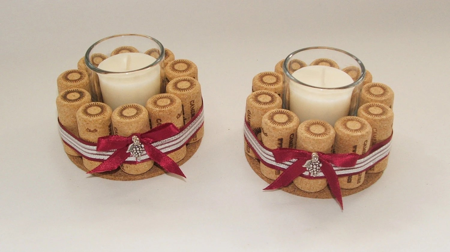 Wine Cork Candle Holders Set Of Two