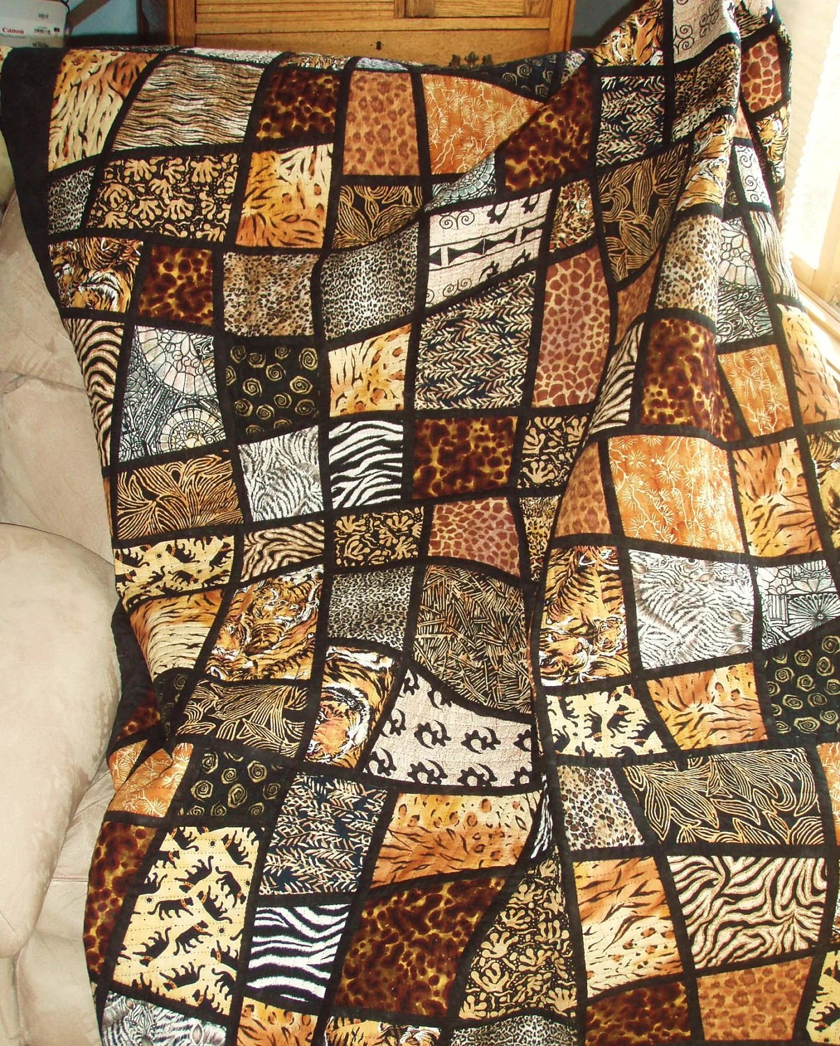 Twin Size Bed Quilt Jungle Animal Prints In Mosaic Crazy