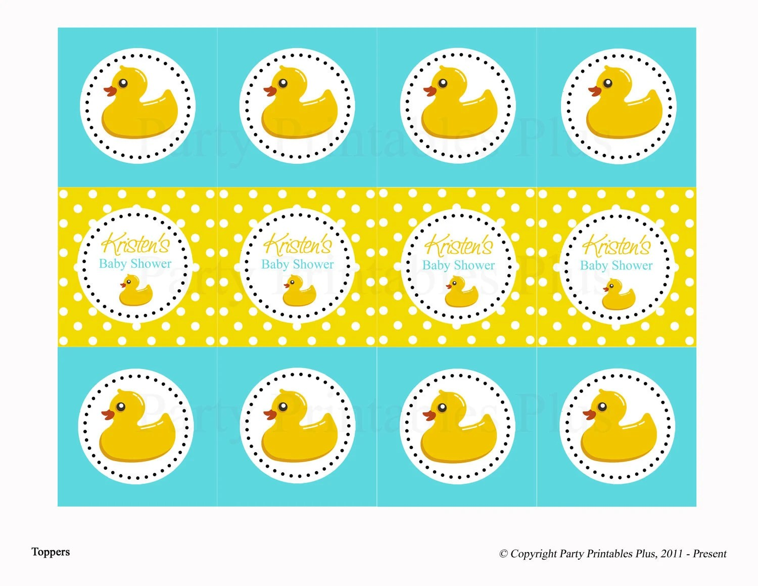 Items Similar To Rubber Ducky Baby Shower Diy Digital Printable Toppers Or Circles For Cupcakes