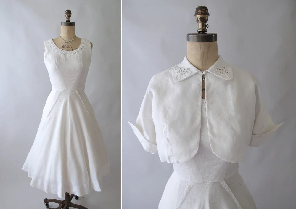 RESERVED...Vintage 1950s White Linen Wedding Dress And Jacket
