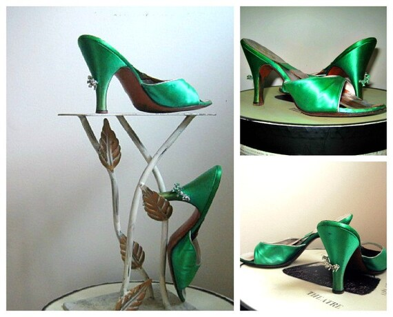 springolator style vintage 60s slide shoes sandlas satin jeweled heels