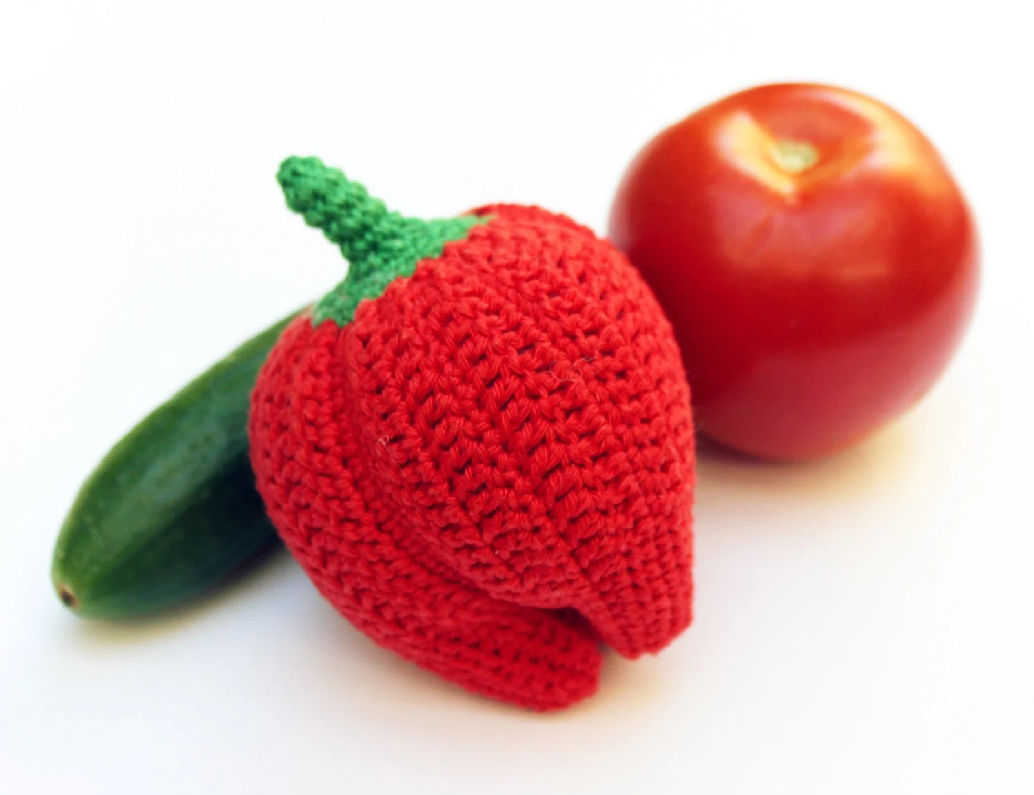 Crochet Toy - Crochet Red Peper - Cotton - for baby / girl / boy / kids - gift - CasaDeGato