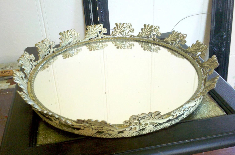 Round Mirror Tray In Metal Filigree Frame