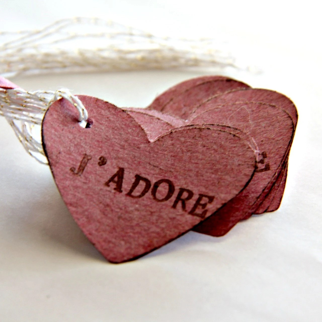 Mauve Gift Tags - Heart Kraft Tags (10) - Love Hang Tags - Pink Hanging Labels - Gift Bag Tags - Favor Bag Labels - Distressed Shabby Tags - 42things