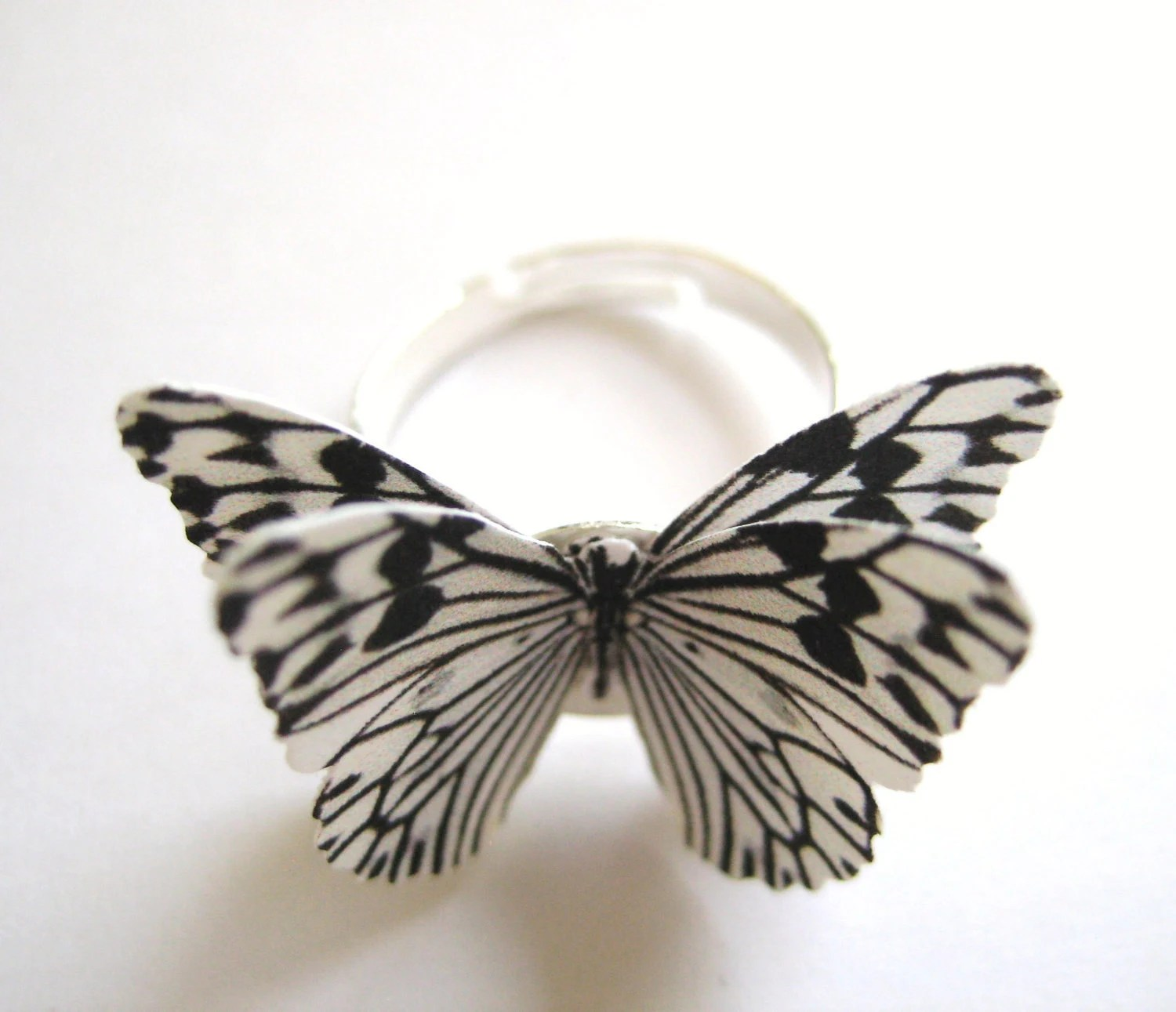 Zebra Print Jewelry - Black And White Stripe Butterfly Ring - SpotLightJewelry