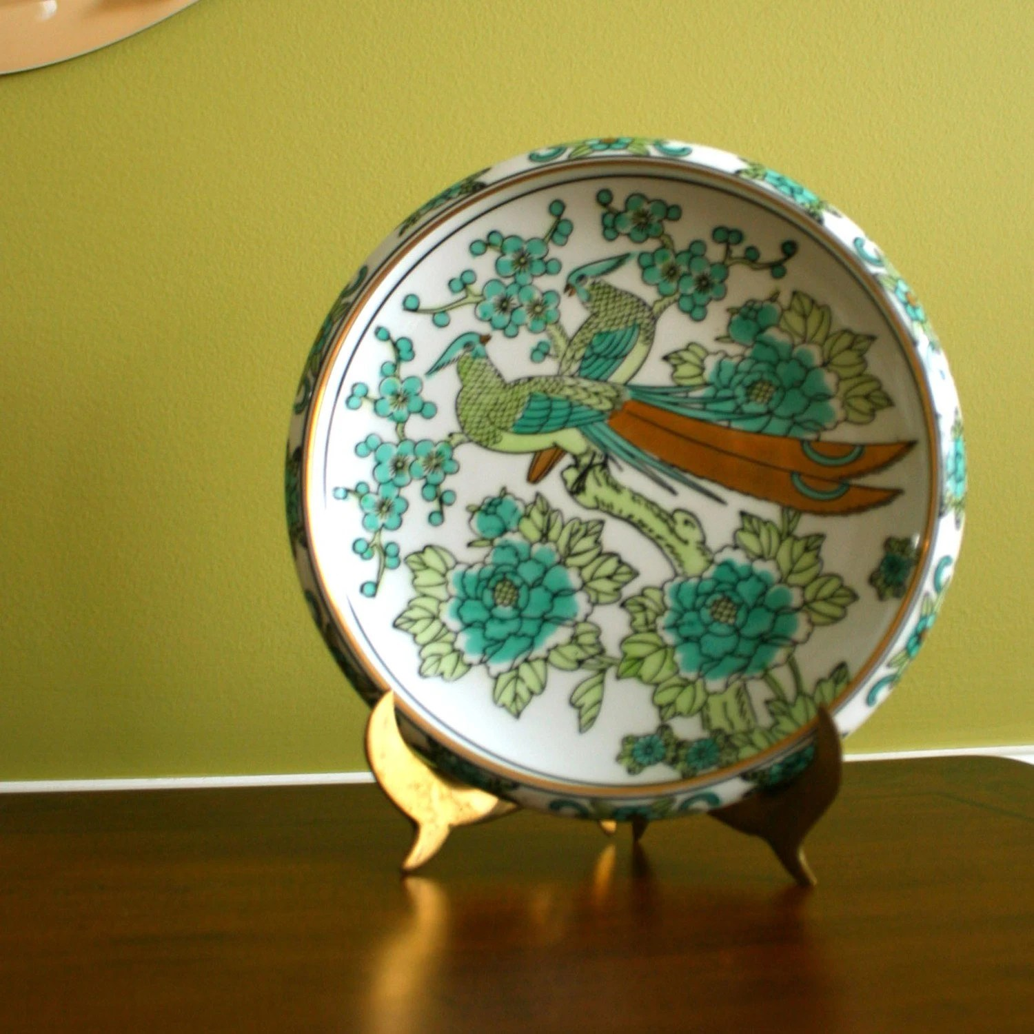 Vintage Imari Decorative Plate Handpainted Turquoise Gold
