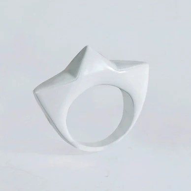 40% off RTS  last in stock White Size 7, 3 Pyramid Stud Band Ring - AMictlan