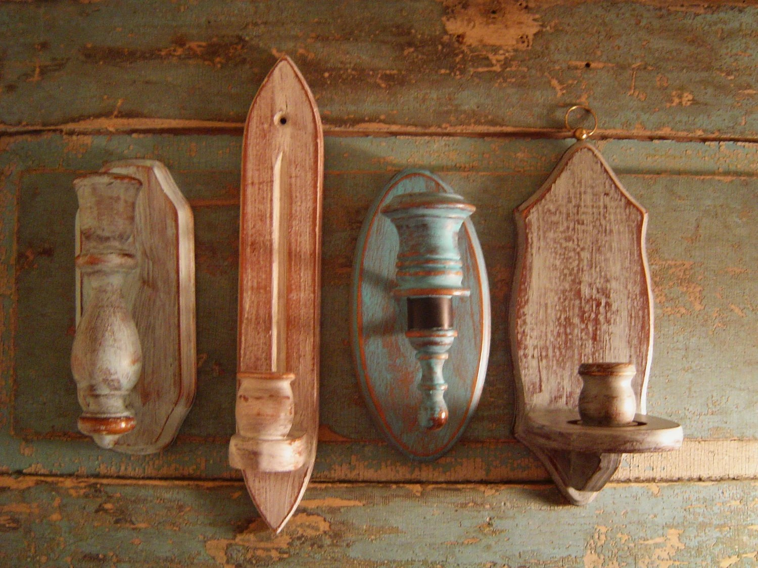 Candle Holder Wall Sconces Wood Distressed Cloudy Skies on Wood Wall Sconces id=74992