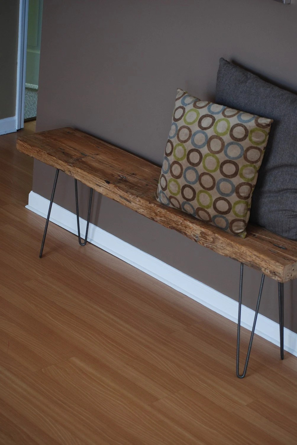 Modern Industrial Rustic Wood Bench With Mid Century Styled