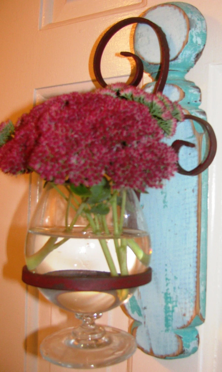 Wall Hanging Vase...Reclaimed Wood and Wrought Iron Planter on Iron Wall Vases id=16233