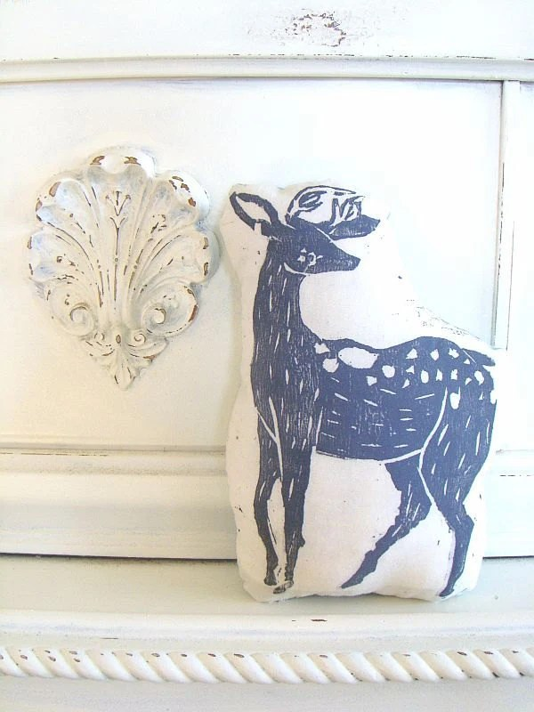 Plush Deer Pillow in Grey. Hand Woodblock Printed. Customizable Colors. Made to Order.