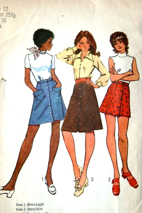 vintage 70's Simplicity 9822 skirts, 3 styles/lengths, size 12 waist 25.5 hip 36
