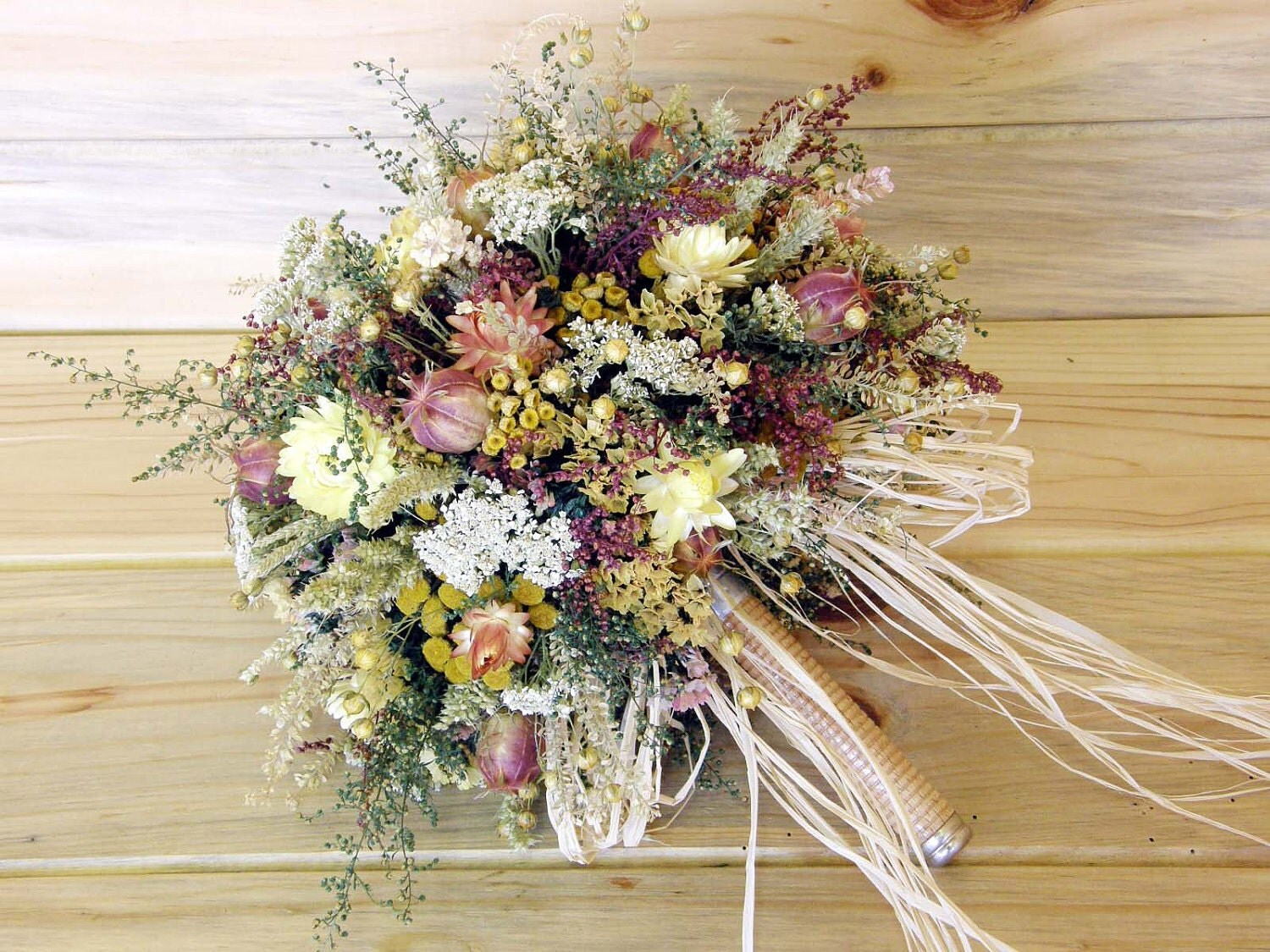 Country Dried Flower Bridal Bouquet-Something Old-Something