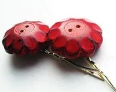 Vintage Button Hair Pins Red Wood Flowers Pair Hair Accessory Decoration CLEARANCE SALE - VaudevilleGypsy