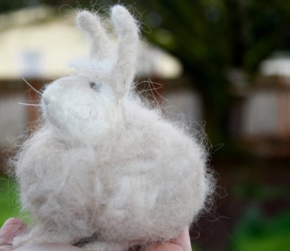 "Needle Felted Angora Rabbit ""PEACHES"" Needle Felted Sculpture with Alpaca and Angora - TheWoolyWanderer"