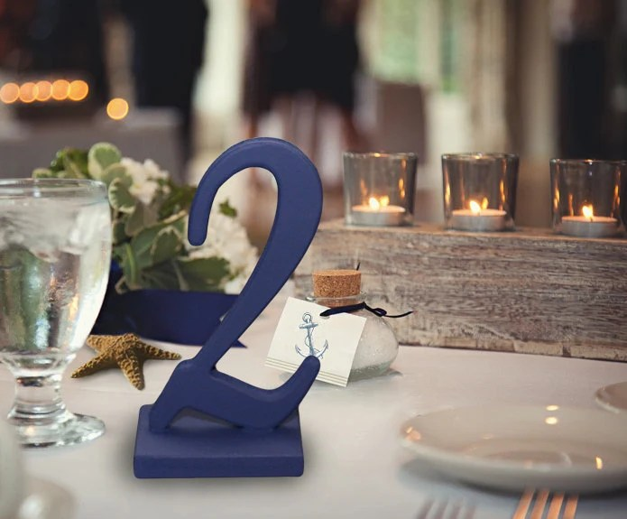 Nautical Wedding Table Numbers in Navy Blue - Reception Decor - ZCreateDesign