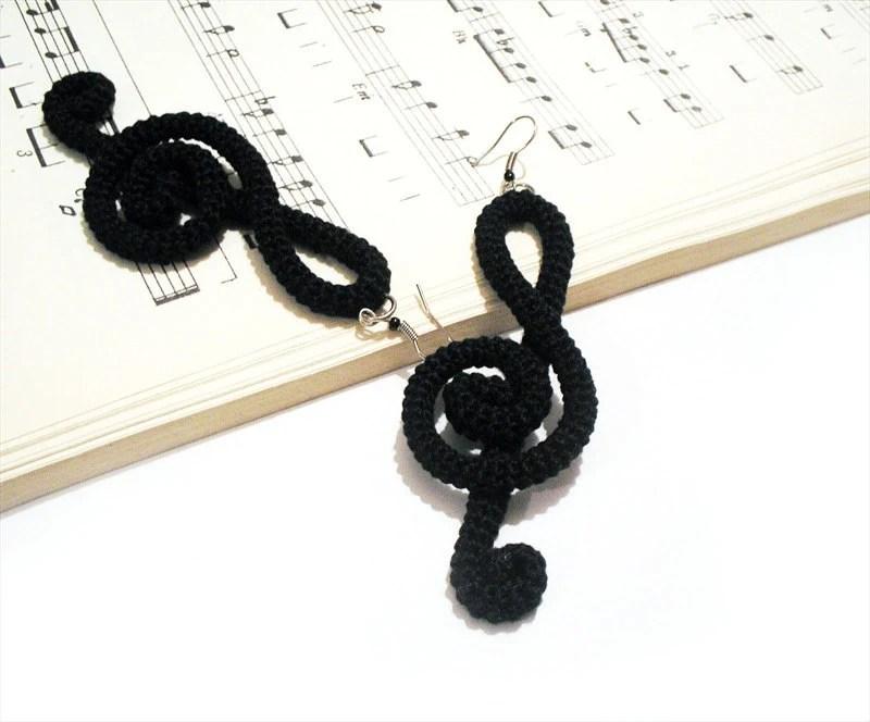 Treble Clef  Black Crochet Earrings Music Theory Fiber Wrapped Note by VanessaHandmade - vanessahandmade