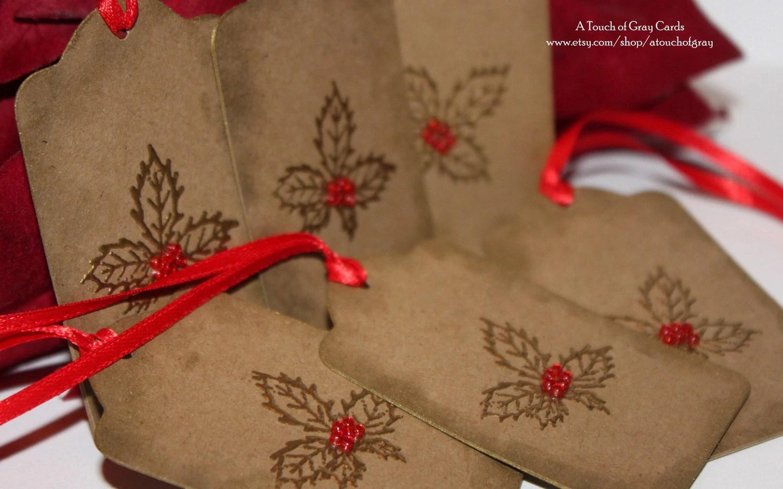 Christmas Gift Tags Holly Tags Handmade Christmas Tags Set