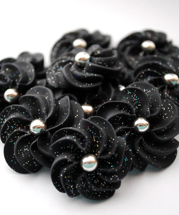 Sparkling Black Royal Icing Flowers- Modern style with 6mm Silver dragee center (24) - cupcakesbychristy