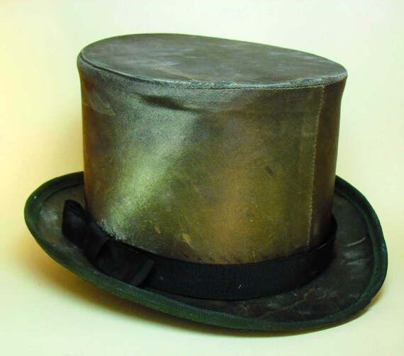 Vintage Top Hat Green Size 7 1 8 Silk Or Satin Very By