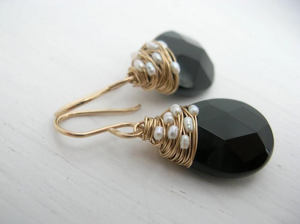 Fresh Water Pearl Woven Black Onyx Earring
