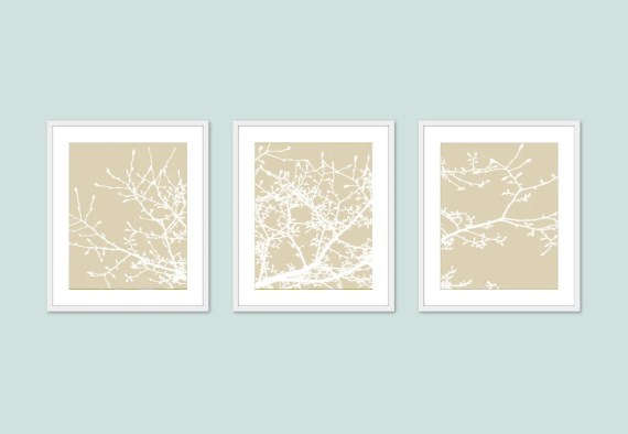 Magnolia Tree Branches - Wall Art - Print Set - Beige Tan - Original Modern - Woodland - Home Decor - AldariArt