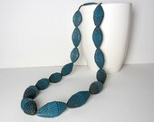 Teal: Statement Necklace with Beads of Corrugated Cardboard - PaperStatement