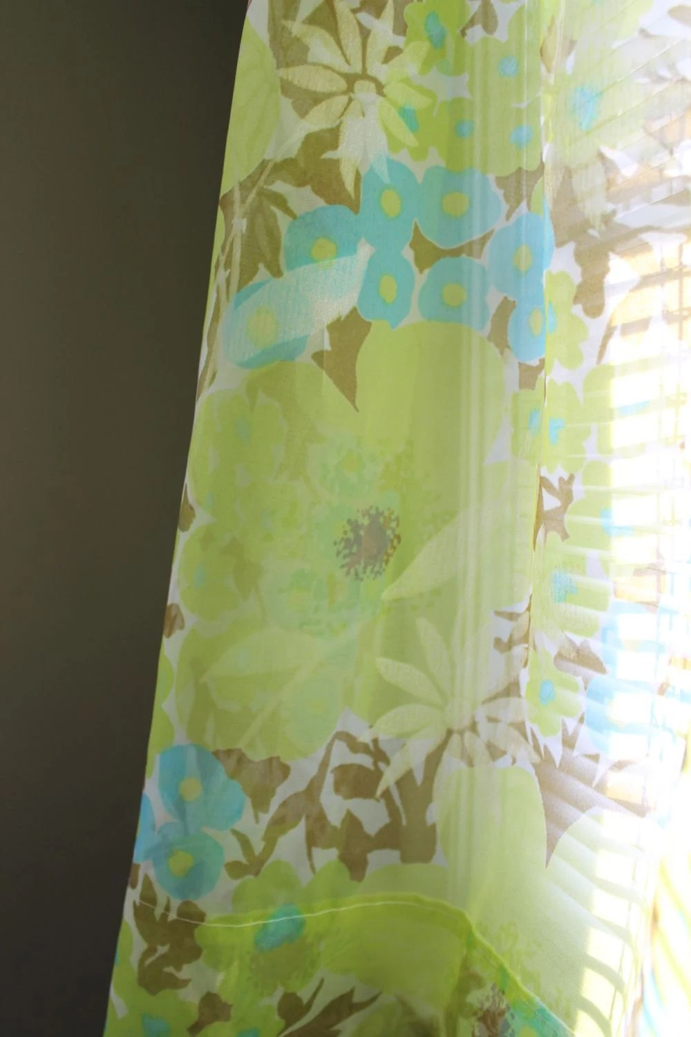 CURTAINS SHEER FLORAL Turquoise Lime Green Brown 9