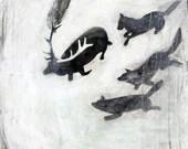 Tehillim 22 - Art Print - The Elk and the Wolves - 10 x 10 - manartnation