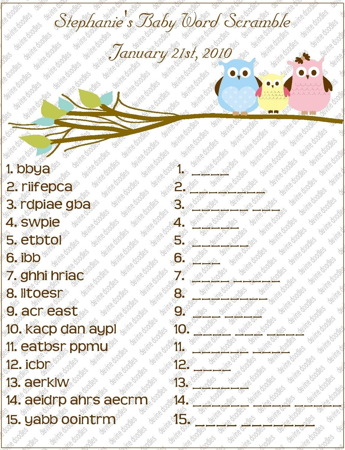 Items Similar To Personalized Owl Baby Shower Word Scramble On Etsy