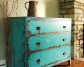 Variety of Antiqued Teal Chests of Drawers - Artisan8