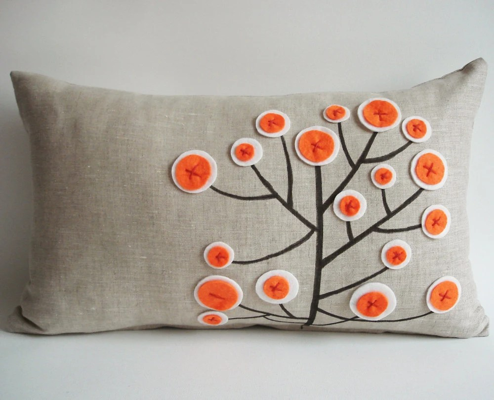 Sukan / Original Pen Pattern Pillow Cover - 12x20 inch - Beige, Black, Orange, White Color - sukanart