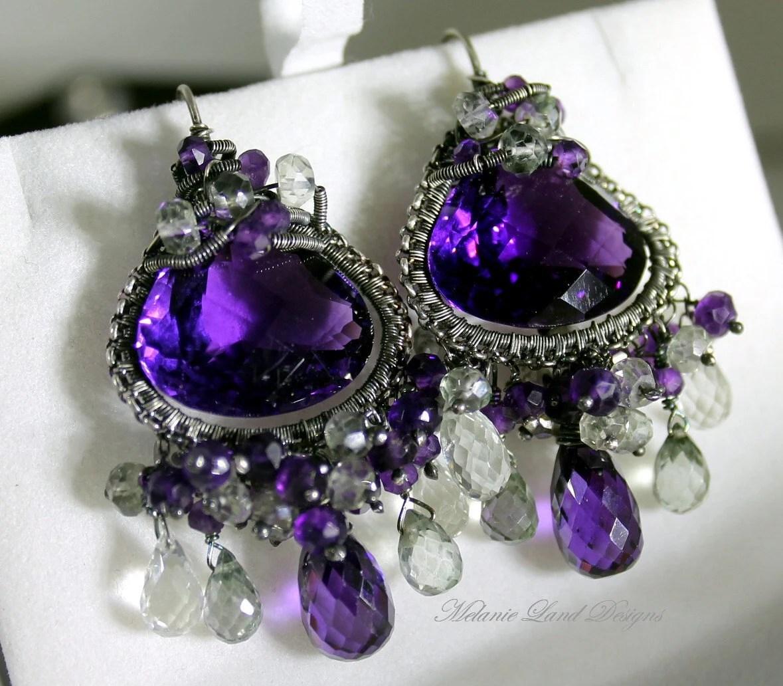 Wings of Angles - Purple Amethyst, Green Sapphire and Prasiolite Sterling Earrings