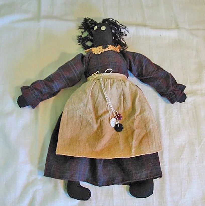 Black Americana Cloth Rag Doll Vintage Handmade By Azaleatrail