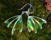 "Forest Faerie Wings, Fern Fairy Earrings, Green Wing Earrings, unique silver earrings, ""Fern"" - TheSilverBranch"