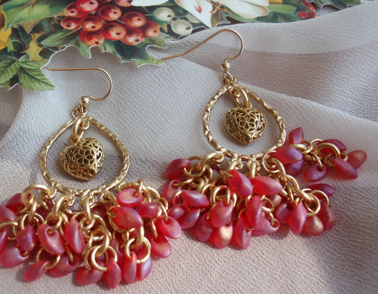 Red Gold Heart Earrings Matte Red Magatama Beads Valentines Day